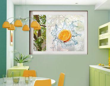 Fensterfolie - Sichtschutz Fenster Frische Orange - Fensterbilder