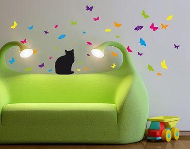 Wandtattoo Kinderzimmer Floral Katze Schmetterling No.RS68 Katze und Schmetterlinge
