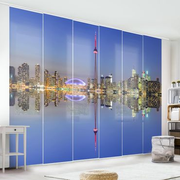 Schiebegardinen Set - Toronto City Skyline vor Lake Ontario - Flächenvorhänge