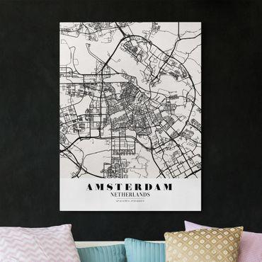 Leinwandbild - Stadtplan Amsterdam - Klassik - Hochformat 4:3