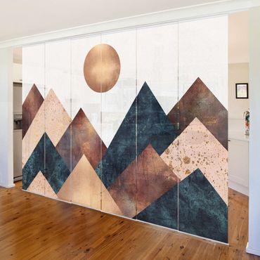 Schiebegardinen Set - Elisabeth Fredriksson - Geometrische Berge Bronze - 6 Flächenvorhänge