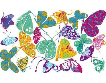 Fensterfolie - Fenstersticker - No.RS74 Bunte Schmetterlinge - Fensterbilder Frühling