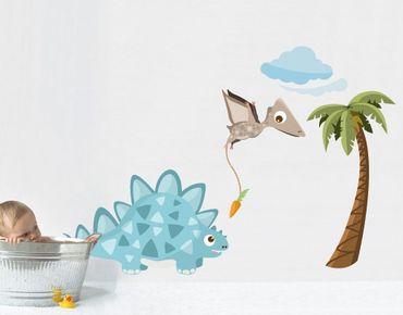 Wandtattoo Babyzimmer No.MW89 Dinobande Steggi und Flap
