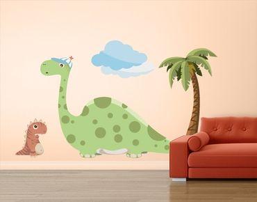 Wandtattoo Babyzimmer No.MW90 Dinobande Tiny und Bronto