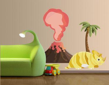 Wandtattoo Kinderzimmer No.MW91 Dinobande Trixi und Vulkan