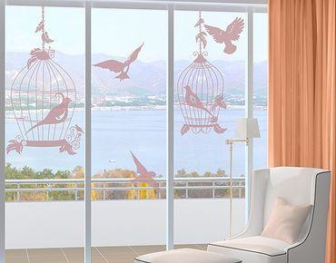 Fensterfolie - Fenstertattoo No.RS52 Vogelpaar - Milchglasfolie