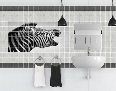 Fliesenbild - Brüllendes Zebra II