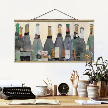 Stoffbild mit Posterleisten - Entkorkt - Champagner - Querformat 2:1
