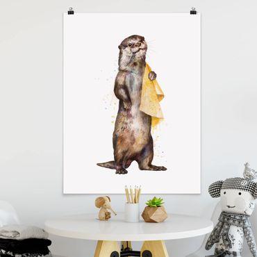 Poster - Illustration Otter mit Handtuch Malerei Weiß - Hochformat 4:3