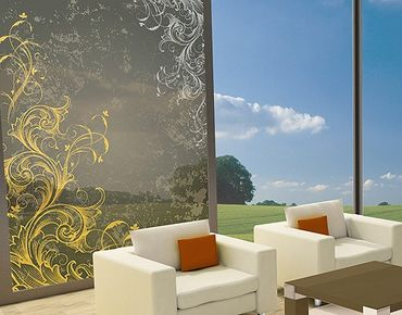 Fensterfolie - Sichtschutz Fenster Schnörkel in Gold und Silber - Fensterbilder