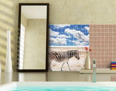 Fliesenbild - Zebra in der Savanne