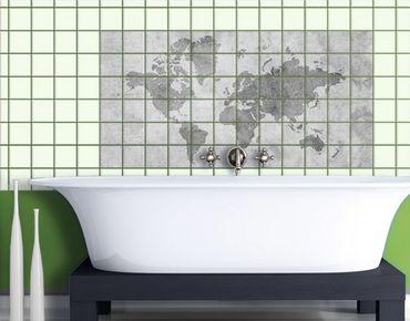 Fliesenbild - Vintage Weltkarte II
