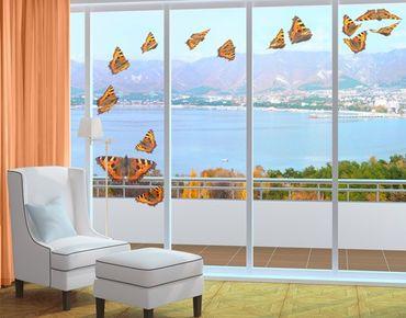 Fensterfolie - Fenstersticker No.598 Schwarm kleiner Fuchsfalter - Fensterbilder