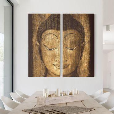 Leinwandbild 2-teilig - Smiling Buddha - Hoch 1:2