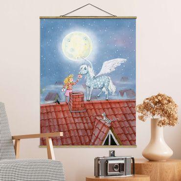 Stoffbild mit Posterleisten - Maries Zauberpony - Hochformat 3:4
