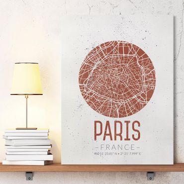 Leinwandbild - Stadtplan Paris - Retro - Hochformat 4:3