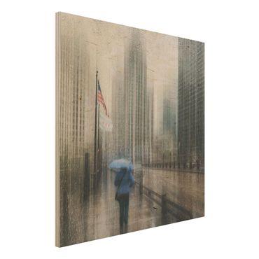 Holzbild - Verregnetes Chicago - Quadrat 1:1