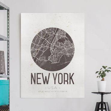 Leinwandbild - Stadtplan New York - Retro - Hochformat 4:3