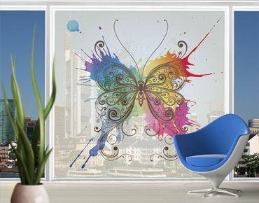 Fensterfolie - XXL Fensterbild Aquarell Schmetterling - Fenster Sichtschutz