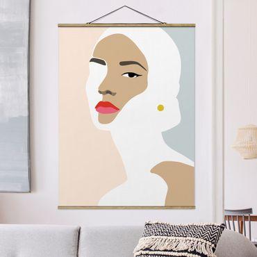 Stoffbild mit Posterleisten - Line Art Portrait Frau Pastell Grau - Hochformat 3:4