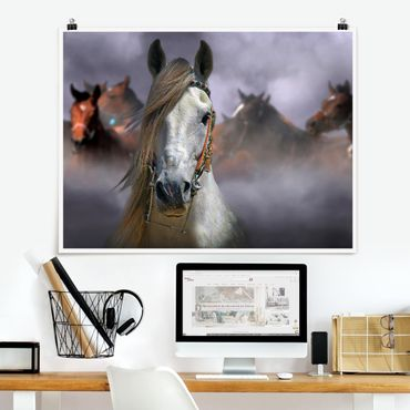 Poster - Horses in the Dust - Querformat 3:4