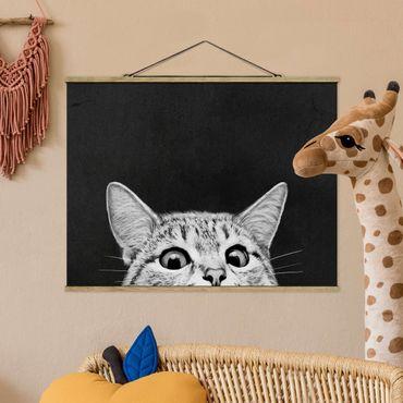 Stoffbild mit Posterleisten - Laura Graves - Illustration Katze Schwarz Weiß Zeichnung - Querformat 4:3