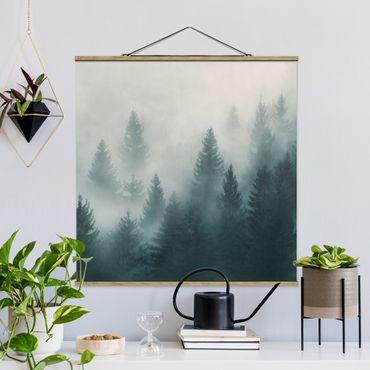 Stoffbild mit Posterleisten - Nadelwald im Nebel - Quadrat 1:1