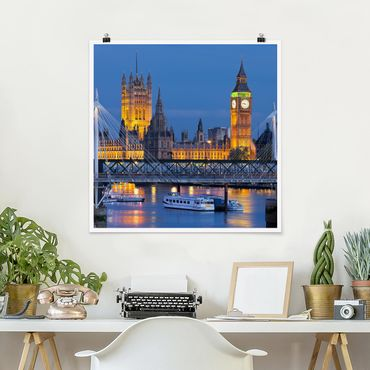 Poster - Big Ben und Westminster Palace in London bei Nacht - Quadrat 1:1