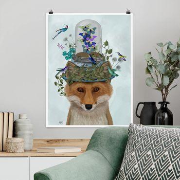 Poster - Fuchs mit Schmetterlingshut - Hochformat 3:4
