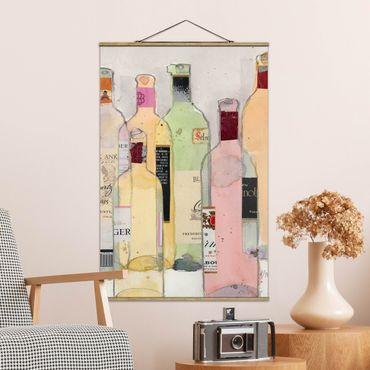 Stoffbild mit Posterleisten - Weinflaschen in Wasserfarbe I - Hochformat 2:3