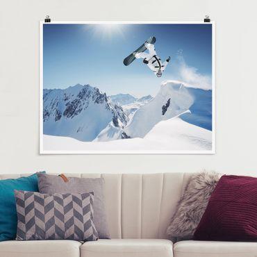 Poster - Fliegender Snowboarder - Querformat 3:4