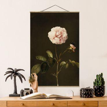 Stoffbild mit Posterleisten - Barbara Regina Dietzsch - Essig-Rose mit Hummel - Hochformat 3:2
