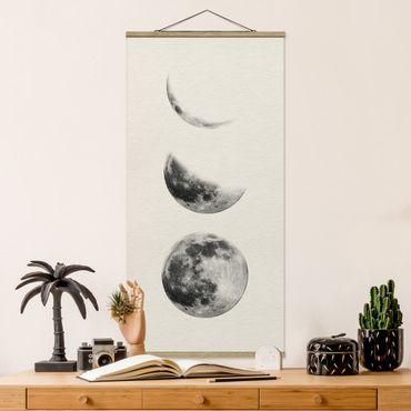 Stoffbild mit Posterleisten - Drei Monde - Hochformat 2:1
