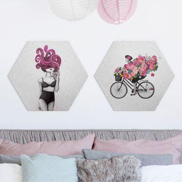 Hexagon Bild Alu-Dibond 2-teilig - Laura Graves - Frauen Zeichnungen - Floraler Ozean