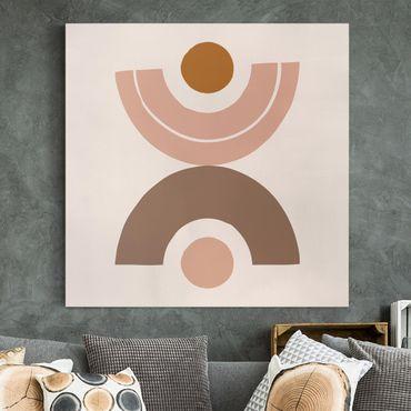 Leinwandbild - Line Art Abstrakte Formen Pastell - Quadrat 1:1