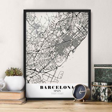 Bild mit Rahmen - Stadtplan Barcelona - Klassik - Hochformat 3:4