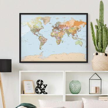 Bild mit Rahmen - Politische Weltkarte - Querformat 3:4