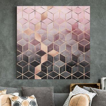 Leinwandbild - Rosa Grau goldene Geometrie - Quadrat 1:1