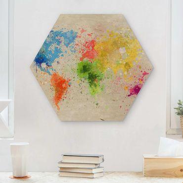 Hexagon Bild Holz - Bunte Farbspritzer Weltkarte