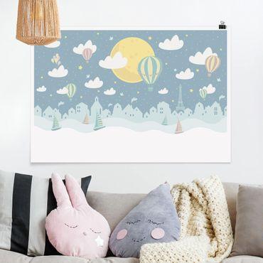 Poster - Paris mit Sternen und Heißluftballon - Querformat 2:3