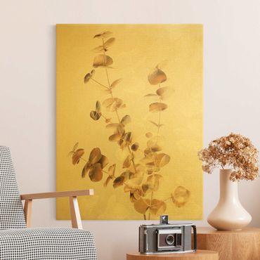 Leinwandbild Gold - Goldene Eukalyptuszweige mit Weiß - Hochformat 3:4