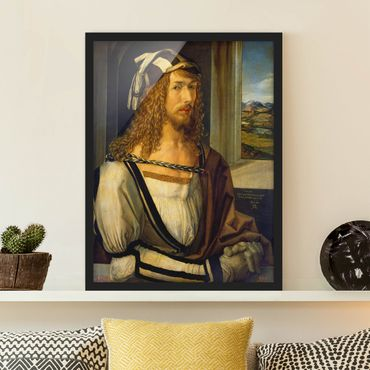 Bild mit Rahmen - Albrecht Dürer - Selbstbildnis mit Landschaft - Hochformat 3:4