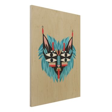 Holzbild - Collage Ethno Maske - Löwe - Hochformat 4:3
