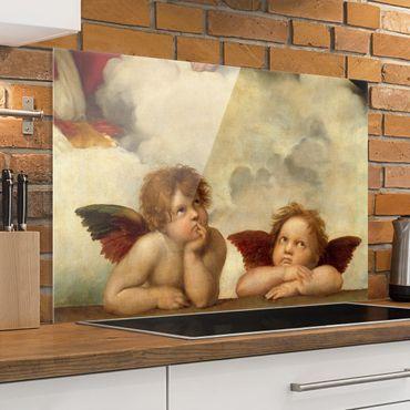 Spritzschutz Glas - Raffael - Zwei Engel - Querformat - 3:2