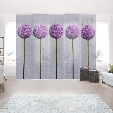 Schiebegardinen Set - Allium Kugel-Blüten - Flächenvorhänge