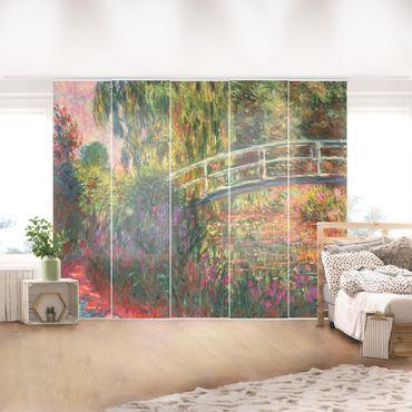 Schiebegardinen Set - Claude Monet - Japanische Brücke im Garten von Giverny - 5 Flächenvorhänge