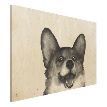 Holzbild - Illustration Hund Corgi Weiß Schwarz Malerei - Querformat 2:3