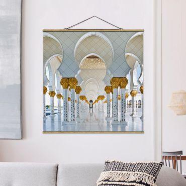 Stoffbild mit Posterleisten - Moschee in Abu Dhabi - Quadrat 1:1