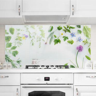 Spritzschutz Glas - Kräuter und Blüten - Querformat - 2:1