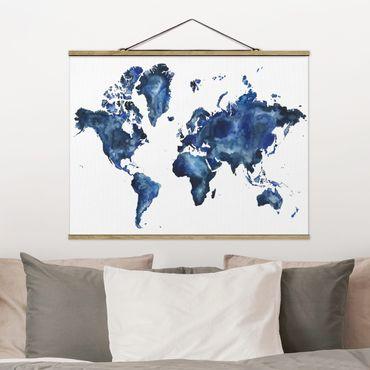 Stoffbild mit Posterleisten - Wasser-Weltkarte hell - Querformat 3:4